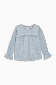 Broderie Long Sleeve Top (3-16yrs)