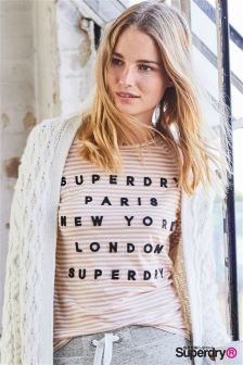 Superdry Blush Stripe Appliqué Raglan Long Sleeve Top