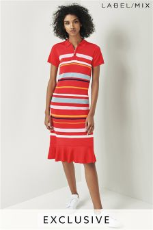 Mix/J.Won Red Stripe Knit Polo Dress