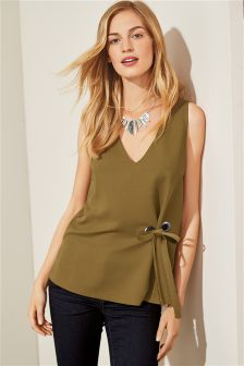 Sleeveless Eyelet Shell Top