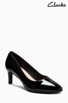 Clarks Black Patent Calla Rose Mid Heel Court Shoe
