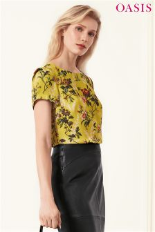Oasis Yellow Rosetti 40s' Sleeve Formal Tee