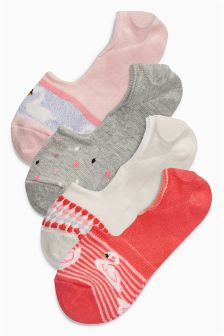 Swan Invisible Trainer Socks Four Pack