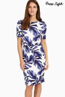 Phase Eight White/Navy Eloise Palm Print Dress