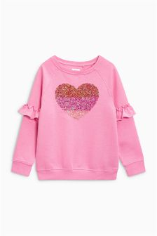 Ruffle Sleeve Crew Neck Sweat (3-16yrs)