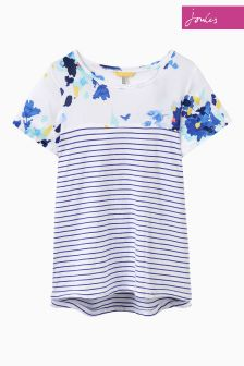 Joules Bright White Floral Jersey Woven Mix Top