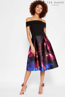Ted Baker Black Kimey Floral Bardot Dress