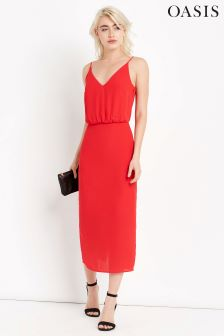 Oasis Red Plain Midi Dress