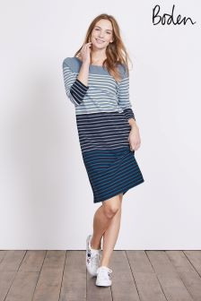 Boden Delph Blue Multi Stripe Breton Dress