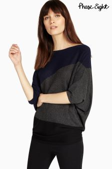 Phase Eight Navy Diagonal Block Becca Knit