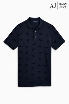 Armani Jeans Navy All Over Print Logo Poloshirt