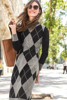 Argyle Pattern Dress