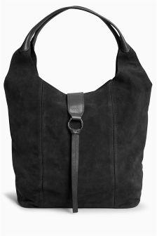 Suede Ring Detail Hobo Bag