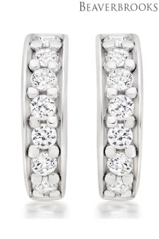 Beaverbrooks Silver Cubic Zirconia Huggie Earrings