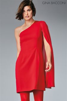 Gina Bacconi Red Juliette Asymmetric Dress
