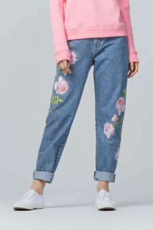 Warehouse Mid Wash Embroidered Jean