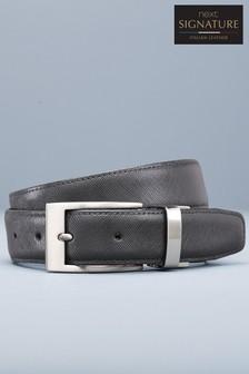 Signature Reversible Leather Textured Belt
