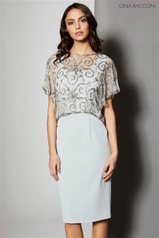 Gina Bacconi Grey Crepe Dress With Beaded Over Top