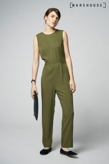 Warehouse Khaki Casual Plain Jumpsuit