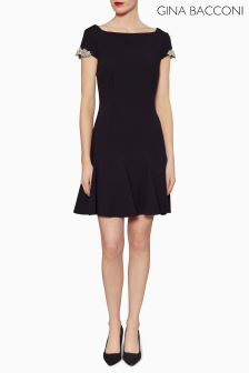 Gina Bacconi Black Emma Godet Dress