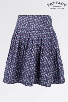 Fat Face Light Navy Leaf Print Skirt