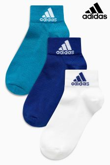 adidas Blue/White Ankle Socks Three Pack