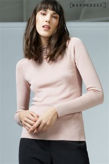 Warehouse Nude Lace High Neck Jumper