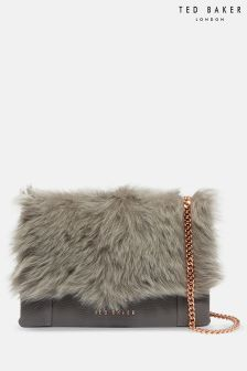 Ted Baker Grey Fuzzi Faux Fur Across Body Bag