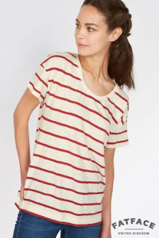 Fat Face Rustic Red Jessie Stripe Tee