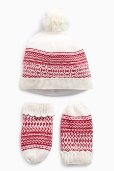 Fairisle Pattern Hat And Mitts Set (Younger Girls)