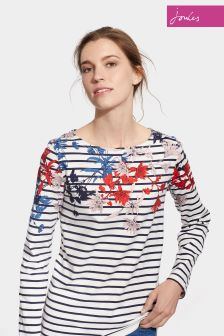 Joules Fay Floral Stripe Harbour Print Jersey Top