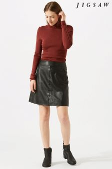 Jigsaw Black Mini Leather Skirt