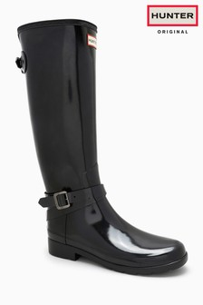 Hunter Black Gloss Refined Back Adjustable Tall Welly