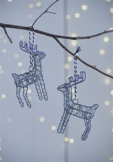Set Of 2 Wire Reindeer Baubles
