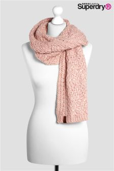Superdry Soft Pink Nebraska Cable Knit Scarf
