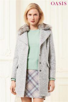 Oasis Grey Freya Bouclé Coat