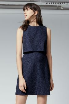 Warehouse Navy Open Back Bonded Lace Dress