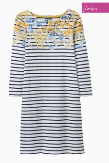 Joules Navy Floral Border Printed Jersey T-Shirt Dress
