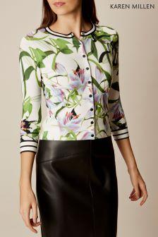 Karen Millen White Multi Lily Print Cardigan