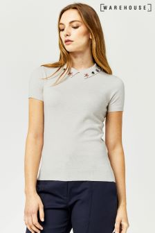 Warehouse Oatmeal Embellished Collar Tee