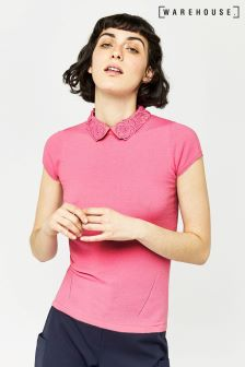 Warehouse Bright Pink Lace Collar Tee