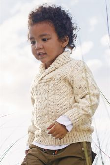 Cable Knit Shawl Neck (3mths-6yrs)