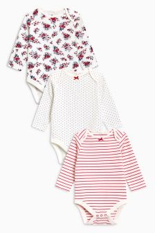 Floral Print Long Sleeve Bodysuits Three Pack (0mths-2yrs)