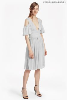 French Connection Grey Constance Drape Cold Shoulder Dress