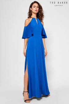 Ted Baker Dulciee Blue Cold Shoulder Maxi Dress