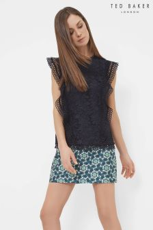 Ted Baker Navy Ruffle Mixed Lace Top