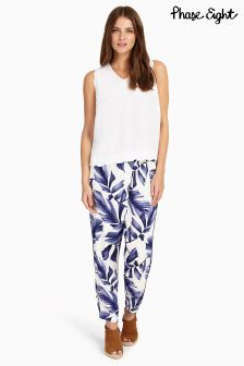 Phase Eight White/Blue Pia Print Trouser