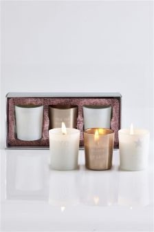 Set Of 3 Black Tea & Sandalwood Candles