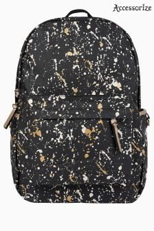Accessorize Black Paint Splash Foil Printed Backpack