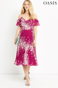 Oasis Multi Pink Floral Pleat Midi Dress
